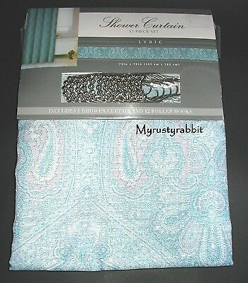 Aqua Blue Turquoise Pastel Paisley Shower Curtain & Hooks ~ 72x72 Lyric - New, used for sale  Melbourne