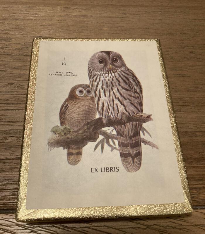 Vintage Gummed Antioch 50 Bookplate Name Labels Ex Libris Pair Of Owls