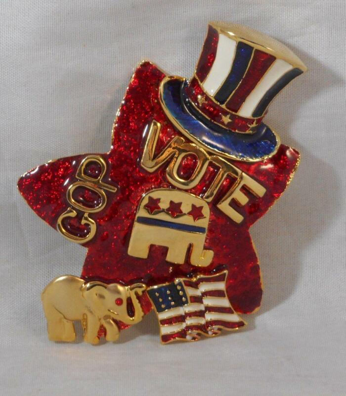 Vintage Vote GOP Brooch Pin Republican AD 2002 Elephant Star Fashion Jewelry