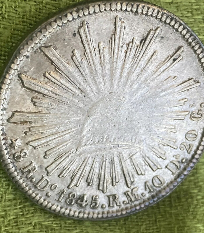 1845 Do RM Mexico 8 Reales Durango Mint Silver Coin.  SCARCE DATE.