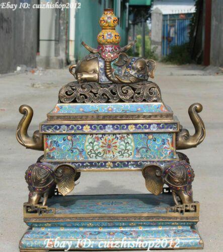 """20"""" Qing Dynasty Cloisonne Purple Bronze elephant Gourd Incense Burner Censer"""
