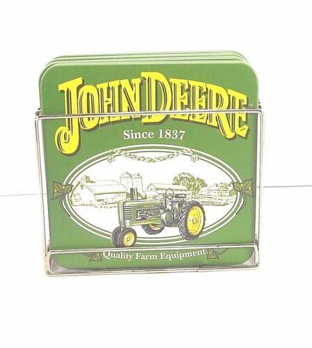 John Deere Coaster Set With Metal Holder