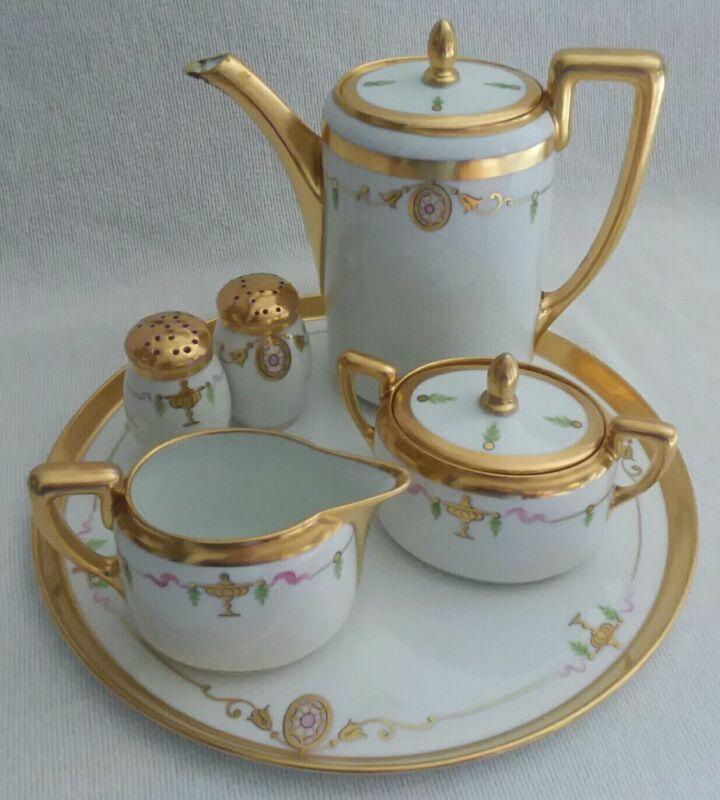 Pickard 8 Piece Art Deco Tea Set Hand Painted China Gold Trimmed Creamer Shaker