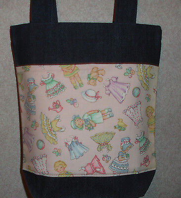 NEW Handmade Paper Dolls Pink Bkgd Small Denim Tote Bag Gift