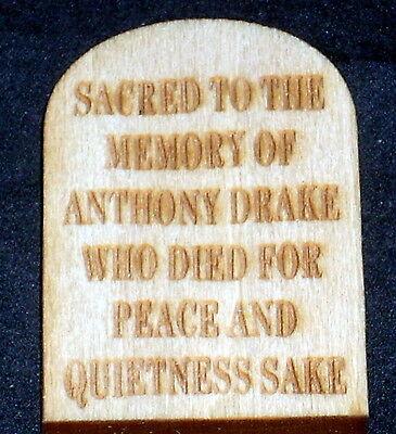Miniature Anthony Drake Gravestone / Halloween Tombstone Graveyard Western - Drake Halloween