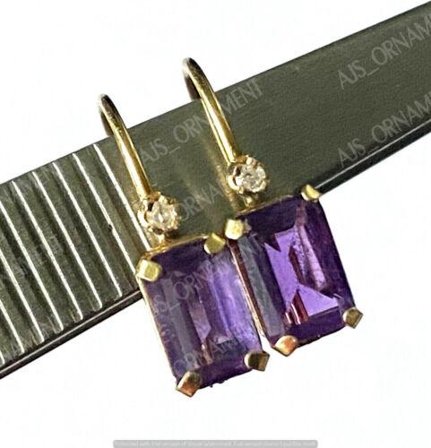 14K Yellow Gold Finish Drop/Dangle Earring 3.50Ct Emerald Cut Amethyst & Diamond