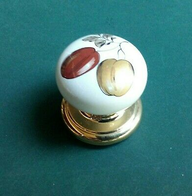 """Vtg White Porcelain Knob Bright Gold Rosette Country Drawer Door 1.5"""" x 1.5"""""""