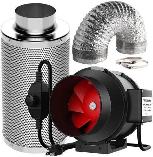 VIVOSUN 6INCH 390 CFM Inline Fan w/Speed Controller Carbon Filter 16ft Ducting
