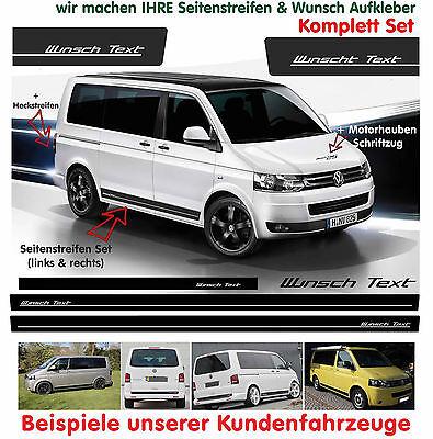VW Bus T4 T5 T6  WUNSCH TEXT Edition Seitenstreifen Aufkleber Set Schwarz Matt online kaufen