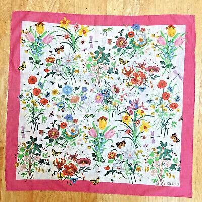 Gucci Vintage Logo Cotton Floral Print Pink Trim Kerchief Scarf