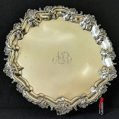 ANTIQUE WILLIAM IV ENGLAND HALLMARKED SOLID STERLING SILVER SALVER TRAY 780 gr