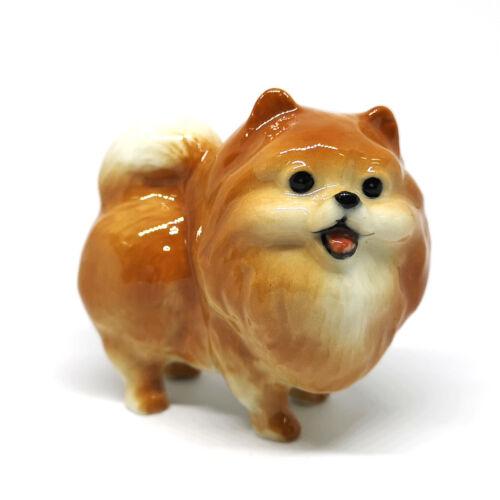 Collectible Ceramic Pomeranian Pom Dog Brown Figurine Handicraft Miniatures