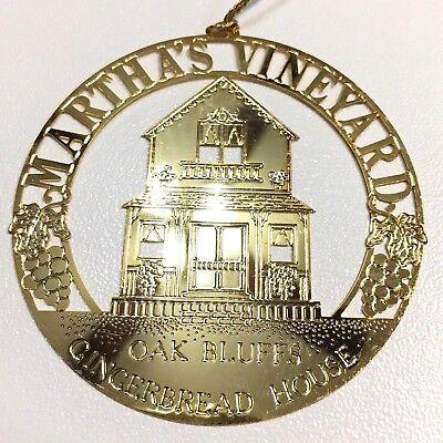 Martha's Vineyard Oak Bluffs Gingerbread House Gold Plated Christmas Ornament ()