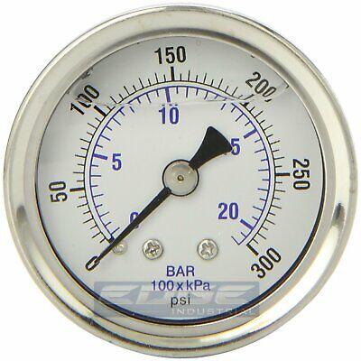 Liquid Filled Pressure Gauge 0-300 Psi 1.5 Face 18 Npt Back Mount