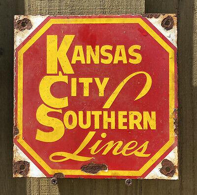 Vintage Kansas City Southern Lines Porcelain Gas Oil Sign Railroad Train Rail