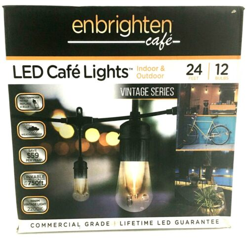 Enbrighten LED Cafe Lights 24ft 12 Bulbs Indoor-Outdoor Vintage Series 35629