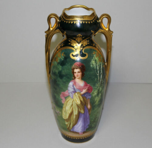 Antique German Double Handled beautiful Portait Porcelain Vase