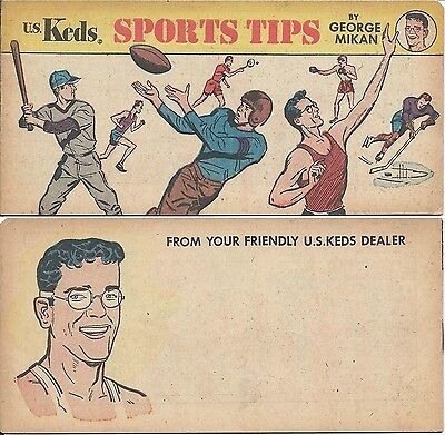 SPORTS TIPS BY GEORGE MIKAN VF- RARE KEDS MINI GIVEAWAY PROMO 1955 PROMOTIONAL