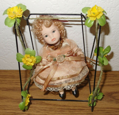 Porcelain Ceramic Girl Doll w/Framed Swing Flowers Lace Dress & Curly Blond Hair