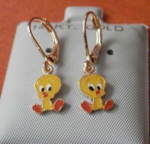 new 14k gold filled hanging tweety twitty bird earrings
