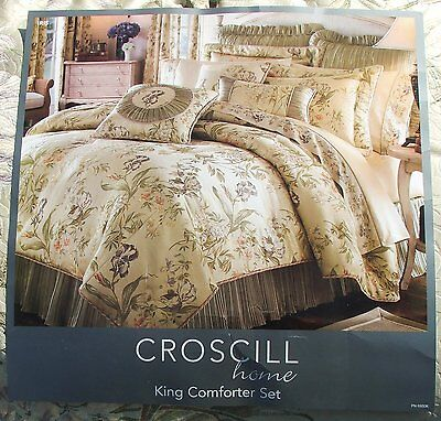BRAND NEW CROSCILL IRIS KING SIZE COMFORTER 4 PIECE SET FLORAL THEME