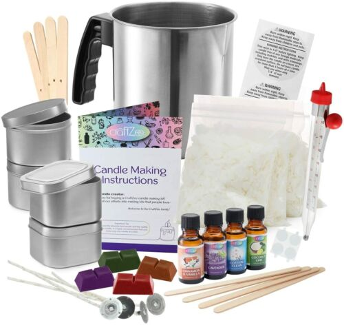 Complete DIY Candle Making Kit Supplies by CraftZee – Create Large Scented Soy C