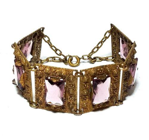 Antique Czech Glass Bracelet Art Deco Amethyst Crystal Open Back Brass Panel