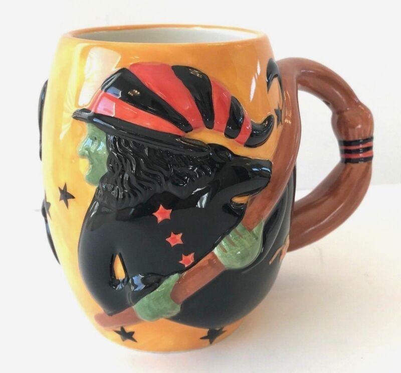 Susan Winget Witch 3D Coffee Cup Mug Wrap Around Broomstick Halloween 24 Oz