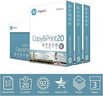 Hp Printer Paper Copyprint 20lb. 8.5x11 Letter Paper 92 Bright 3reams 1500shts