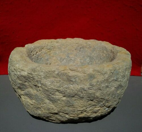 """AUTHENTIC INDIAN ARTIFACT 10""""D X 5""""H STONE MORTAR INDIANA STONE BOWL ARROWHEADS"""