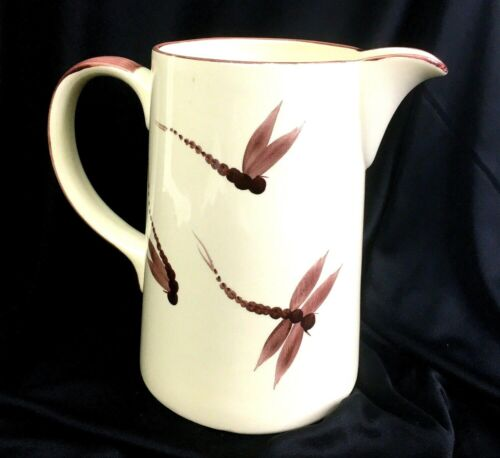 """Poole Pottery Pitcher Cream Dragonfly Hand Painted 7.5"""" England Cottage"""