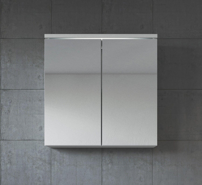 Badezimmer Spiegelschrank Toledo 60 cm Weiß – Stauraum Unterschrank Möbel zwei T