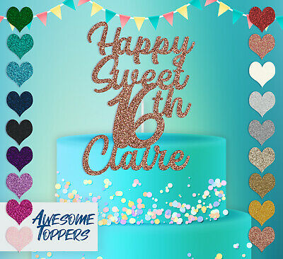 Cake Topper Personalised Custom Happy Sweet 16th Claire Glitter Decoration Party ()