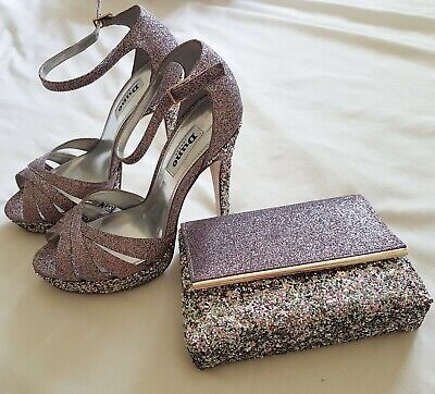 Dune glitter shoes Size 3 and Matching Bag, Brand New