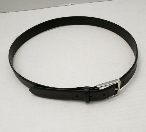 Polo Ralph Lauren Mens Black Belt Silver Tone Buckle Italian Leather Italy 38/95