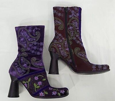 IXOS Mod Go Go BOOTS Size 36.5 Velvet Satin Wool Purple Paisley Embroidered