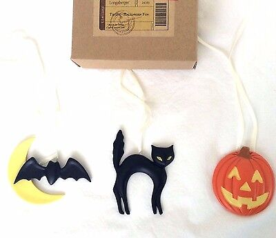 3 Halloween Fun Basket Tie On Moon & Bat, Black Cat, Jack o Lantern Longaberger