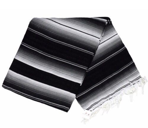 Black Mexican Blanket Traditional Serape Stripes Baja Southwest Blanket Throw XL