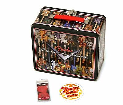 Christmas Gift Pack ! Retro Fender Tele Guitar Lunch Box Tin w/ Patch Picks