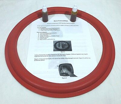 "(2)Two New 15"" Speaker Foam Surrounds (Cerwin Vega Red) with Instructions & Glue"