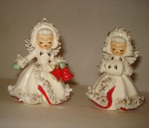 Vintage Holt Howard  Pair Christmas Angel Candle Holders Spaghetti Trim 1958