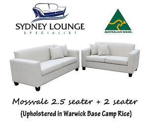 Brand New 100% Aussie Made Mossvale (Warwick fabrics) 2.5+2 Sofa Lounge Couch