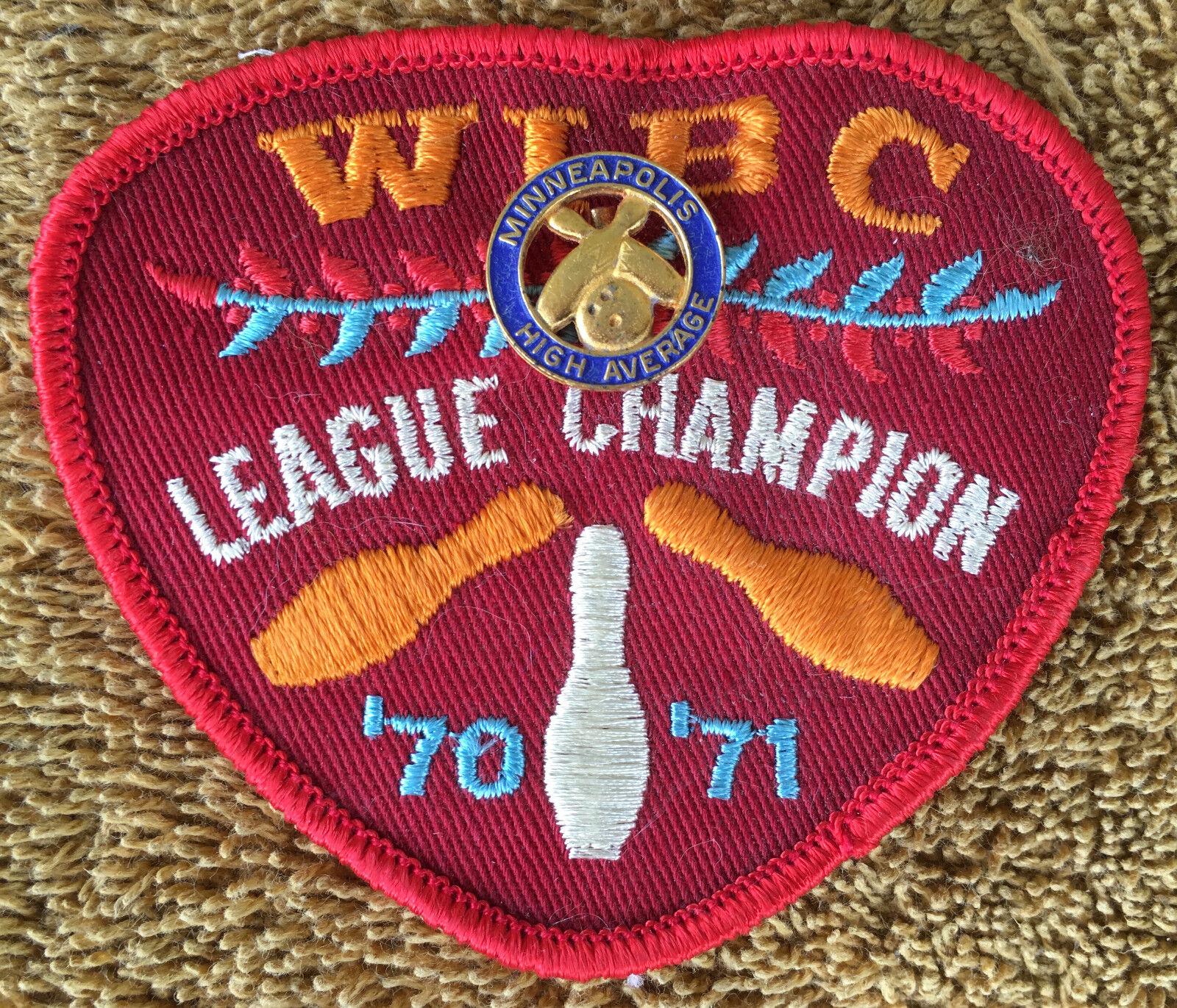 Wibc Bowling Vtg 1970 70/71 League Champion Patch Minneapolis Pin High Average