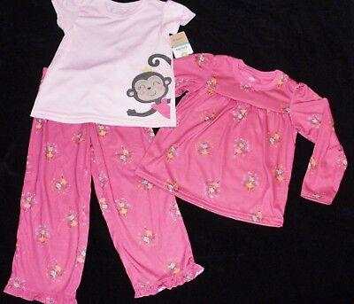 Monkey Pink Girls Pajamas - Carters Girls Monkey Ballerina 3 Pc Pajamas NEW NWT 14 Pink