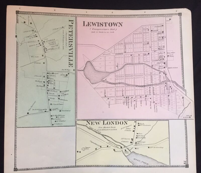 1873 RARE HAND COLOR Poster MAP New London MARYLAND Frederick County PETERSVILLE