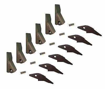 6 - Skid Steer Flush Mount Bucket Shank 230 Fab Teeth W Pins 2300fl 23f