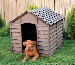 Starplast Outdoor Plastic Dog Kennel Shelter Winter House Durable Large Mocha