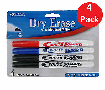 4pk Dry Erase White Board Markers Fine Point Tip Assorted Colors Blue Red Black