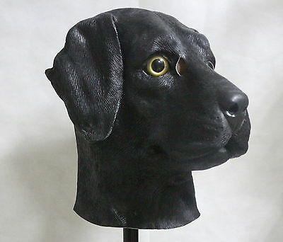 Black Labrador Dog Mask Fancy Dress Animal Canine Realistic Halloween Costume