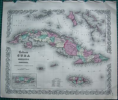 1855 LARGE ANTIQUE MAP-COLTON- CUBA, JAMAICA, AND PORTO RICO